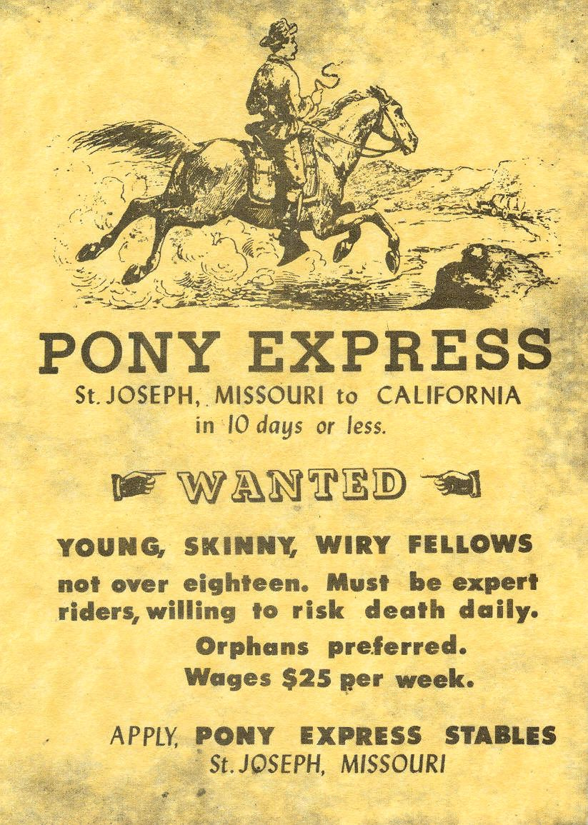 The text of a Pony Express job poster   copy  :